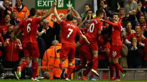 Liverpool players celebrate Divock Origi goal
